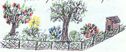 Schulgarten Zeichnung